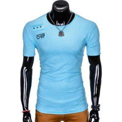 T-SHIRT MĘSKI Z NADRUKIEM S957 - BŁĘKITNY. Niebieskie t-shirty męskie z nadrukiem Ombre Clothing, m. Za 29,00 zł.