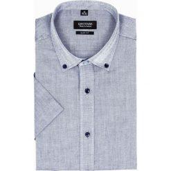 Koszula bexley 2516 krótki rękaw slim fit granatowy. Brązowe koszule męskie slim marki QUECHUA, m, z elastanu, z krótkim rękawem. Za 99,99 zł.