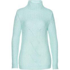 Sweter z warkoczem bonprix pastelowy miętowy. Zielone swetry klasyczne damskie marki bonprix, w kropki, z kopertowym dekoltem, kopertowe. Za 99,99 zł.