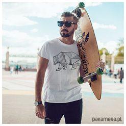 T-shirty męskie: Niedźwiedź kreski męski tshirt koszulka biała