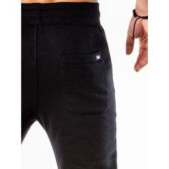 SPODNIE MĘSKIE DRESOWE P549 - CZARNE. Czarne joggery męskie marki Ombre Clothing, m, z bawełny, z kapturem. Za 49,00 zł.