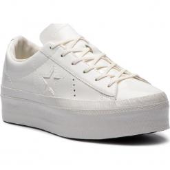 Sneakersy CONVERSE - One Star Platform Ox 562605C Vintage White/Vintage White. Białe sneakersy damskie Converse, z gumy. W wyprzedaży za 299,00 zł.
