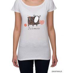 Koszulka damska z owieczką. Szare bluzki asymetryczne Pakamera, z nadrukiem. Za 85,00 zł.