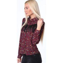 Koszula we wzory z frędzlami bordowa MP26027. Czerwone koszule damskie Fasardi, l. Za 49,00 zł.