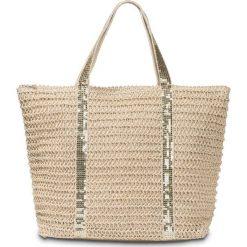 Torba plażowa shopper bonprix beżowo-złoty kolor. Brązowe torby plażowe marki bonprix, zdobione. Za 54,99 zł.