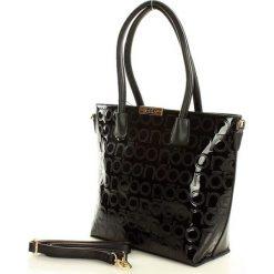 NOBO Logowana torebka shopper bag czarny. Brązowe shopper bag damskie marki Nobo, w paski, ze skóry ekologicznej. Za 159,00 zł.