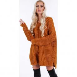 Musztardowy sweter oversize 0211. Szare swetry oversize damskie Fasardi. Za 89,00 zł.