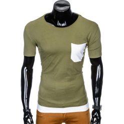 T-SHIRT MĘSKI BEZ NADRUKU S963 - KHAKI. Zielone t-shirty męskie z nadrukiem marki Ombre Clothing, na zimę, m, z bawełny, z kapturem. Za 29,00 zł.