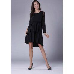 4b4e8fd638 Czarna Rozkloszowana Sukienka z Falbankami z Siateczką. Czarne bluzki  damskie na imprezę Molly.pl