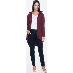 Bluzy damskie: Bordowa Bluza Swetrowa bez zapięcia z Kapturem
