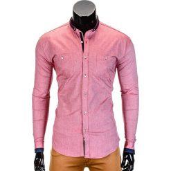 KOSZULA MĘSKA Z DŁUGIM RĘKAWEM K370 - CZERWONA. Czerwone koszule męskie na spinki Ombre Clothing, m, z bawełny, z kontrastowym kołnierzykiem, z długim rękawem. Za 49,00 zł.