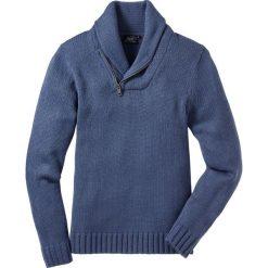 Swetry męskie: Sweter z szalowym kołnierzem, Regular Fit bonprix niebieski indygo