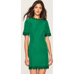 Sukienka z koronkową lamówką - Khaki. Brązowe sukienki koronkowe marki Reserved. W wyprzedaży za 59,99 zł.