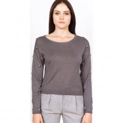 Sweter kaszmirowy w kolorze szarym. Szare swetry klasyczne damskie marki Ateliers de la Maille, z kaszmiru, z okrągłym kołnierzem. W wyprzedaży za 272,95 zł.