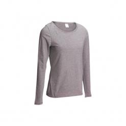 Koszulka długi rękaw Gym & Pilates 100 damska. Niebieskie bluzki sportowe damskie DOMYOS, l, z bawełny. W wyprzedaży za 17,99 zł.
