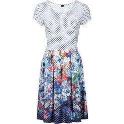 Sukienki: Sukienka w kropki i kwiaty bonprix biały wzorzysty
