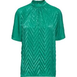 Bluzka shirtowa w strukturalny wzór bonprix miętowy. Zielone bralety bonprix, ze stójką. Za 119,99 zł.