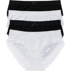 Figi maxi bezszwowe (4 pary) bonprix czarny + biały. Białe figi bonprix, w koronkowe wzory, z koronki. Za 51,96 zł.