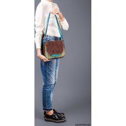 BAMBI - mała torebka - turkusowa łączka i brąz. Niebieskie torebki klasyczne damskie Pakamera, z bawełny, małe. Za 129,00 zł.
