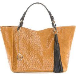 Torebki klasyczne damskie: Skórzana torebka w kolorze jasnobrązowym – 42 x 30 x 20 cm
