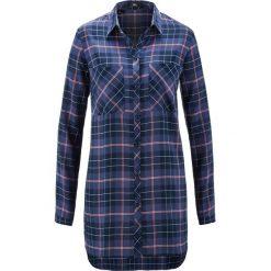 Długa tunika, szeroki fason bonprix indygo w kratę. Niebieskie tuniki damskie z długim rękawem bonprix, z wiskozy. Za 89,99 zł.