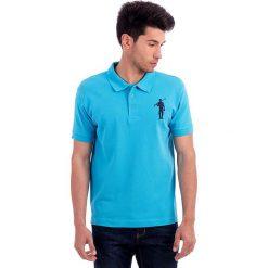 Koszulka polo w kolorze turkusowym. Niebieskie topy sportowe damskie Polo Club, z haftami, z bawełny, z krótkim rękawem. W wyprzedaży za 84,95 zł.