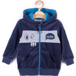 Bluza. Niebieskie bluzy chłopięce rozpinane HEY BOY, z aplikacjami, z bawełny, z długim rękawem, długie, z kapturem. Za 39,90 zł.