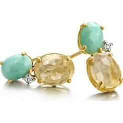 Kolczyki damskie: Wspaniałe Kolczyki Złote – złoto żółte 750, Amazonit…