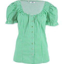 """Bluzka ludowa z dekoltem """"carmen"""" bonprix zielony opal - biały w kratę. Zielone bluzki z odkrytymi ramionami bonprix, z kołnierzem typu carmen. Za 59,99 zł."""