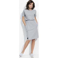 Sukienki: Szara Sukienka z Rozcięciami na Rękawach