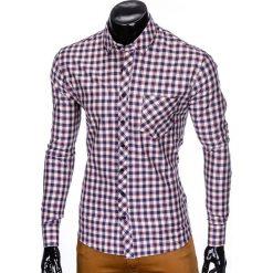 KOSZULA MĘSKA W KRATĘ Z DŁUGIM RĘKAWEM K422 - BEŻOWA/CZERWONA. Brązowe koszule męskie na spinki marki Ombre Clothing, m, z aplikacjami, z kontrastowym kołnierzykiem, z długim rękawem. Za 49,00 zł.