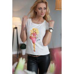 T-shirt z nadrukiem kremowy. Białe t-shirty damskie Fasardi, z nadrukiem. Za 9,90 zł.