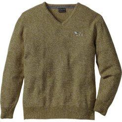 Swetry męskie: Sweter z dekoltem w serek Regular Fit bonprix zielony khaki