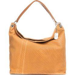Torebki klasyczne damskie: Skórzana torebka w kolorze jasnobrązowym – 38 x 35 x 13 cm