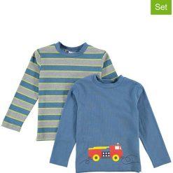Koszulki (2 szt.) w kolorze niebiesko-szarym. Niebieskie t-shirty chłopięce z długim rękawem Lamino Fashion, z nadrukiem, z bawełny. W wyprzedaży za 45,95 zł.
