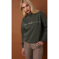 NA-KD Trend Bluza Chest Branded - Green. Zielone długie bluzy damskie NA-KD Trend, z materiału. Za 161,95 zł.