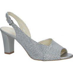 Srebrne sandały skórzane błyszczące na obcasie Kordel 1662. Szare sandały damskie Kordel, na obcasie. Za 249,99 zł.