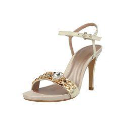 Rzymianki damskie: Skórzane sandały w kolorze złamanej bieli