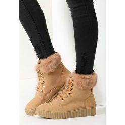 Camelowe Śniegowce Rising Sun. Brązowe buty zimowe damskie vices, z materiału, z okrągłym noskiem, na obcasie. Za 99,99 zł.