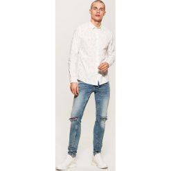 Koszule męskie: Koszula z nadrukiem all over – Biały