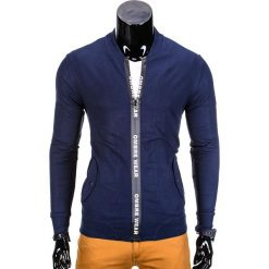 BLUZA MĘSKA ROZPINANA BEZ KAPTURA B681 - GRANATOWA. Niebieskie bejsbolówki męskie Ombre Clothing, m, bez kaptura. Za 59,00 zł.