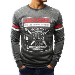 Bluzy męskie: Bluza męska bez kaptura z nadrukiem antracytowa (bx3096)