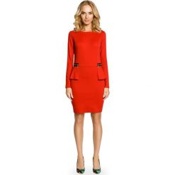 Długie sukienki: Elegancka Sukienka z Baskinką i Suwakami - Czerwony