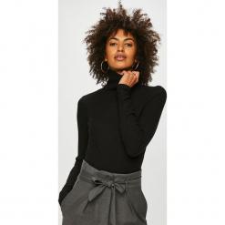 Answear - Bluzka. Czarne bluzki asymetryczne ANSWEAR, s, z haftami, z bawełny, casualowe, z golfem. Za 89,90 zł.