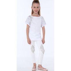 T-shirty dziewczęce: Bluzka dziewczęca z okrągłymi ćwiekami biała NDZ8282