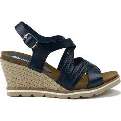 Rzymianki damskie: Skórzane sandały w kolorze granatowym