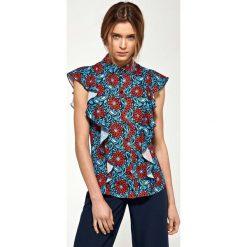 Kwiatowa Letnia Koszulowa Bluzka z Falbankami. Czerwone bluzki koszulowe marki Molly.pl, l, z jeansu, wizytowe. Za 109,90 zł.