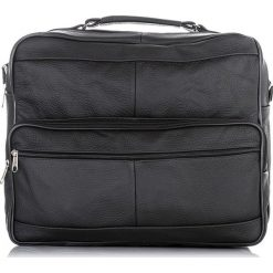 SKÓRZANA CZARNA TORBA MĘSKA ABRUZZO DO PRACY. Czarne torby na ramię męskie Abruzzo, w paski, z materiału, do ręki. Za 129,00 zł.