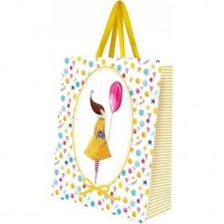 Torebka prezentowa ozdobna mała Kobieta z balonem. Białe torebki klasyczne damskie Cozywood, małe. Za 11,83 zł.