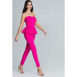 Fuksja Elegancki Komplet Gorsetowa Bluzka + Długie Spodnie. Czerwone bluzki wizytowe marki Molly.pl, l, eleganckie, z gorsetem. Za 172,90 zł.